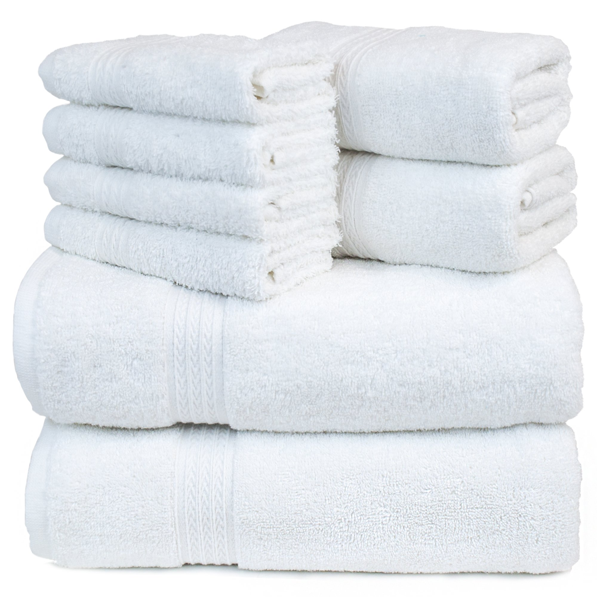 Eco Cotton Eight Piece Towel Set - White - Dobby Border - Set of 8