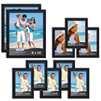 Icona Bay Combination Black Picture Frames Set - 10 PC (Five 4x6, Three 5x7, Two 8x10), Inspirations Collection Multi-pack for Contemporary Wall Gallery