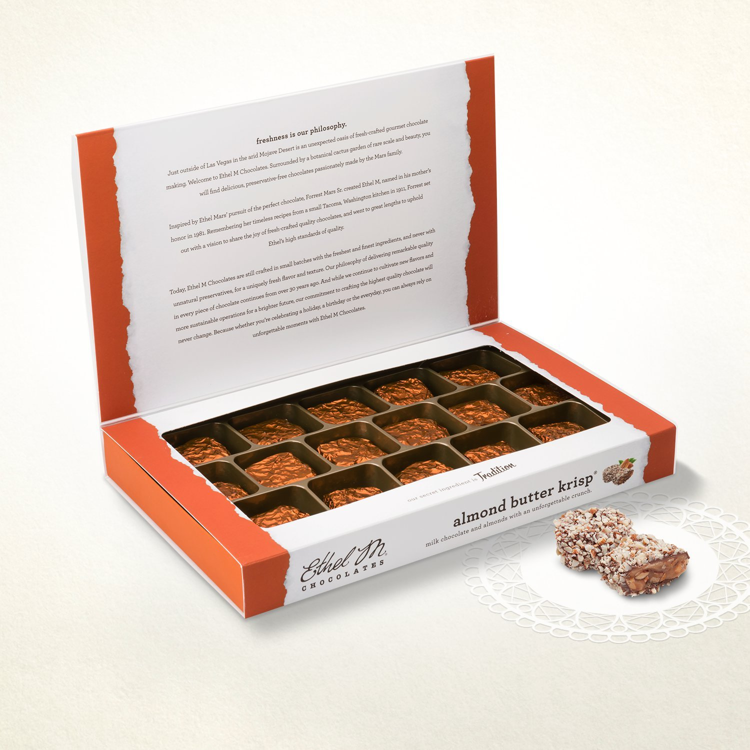 Amazon.com : ETHEL M Chocolates Almond Butter Krisp Candy Gift Box ...