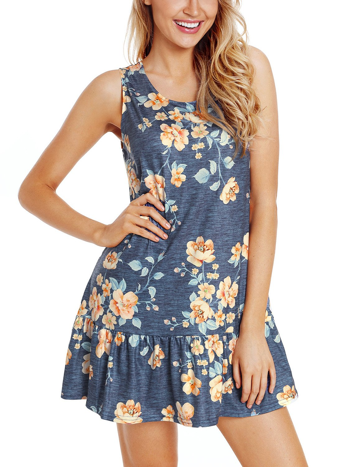 Utyful Women's Summer Casual Navy Floral Printed Sleeveless Ruffled Dress Short Shift Tank Back Crisscross Sundress Size S