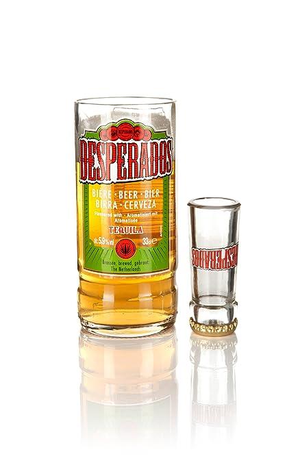 Vaso y vaso de chupito de cristal reciclado con botellas de cerveza Desperados (juego de
