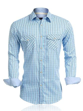 f67810b0e33c Mens Shirts Long Sleeve Casual with Pockets Western Plaid Shirts Rugular  Fit with Soft Washing Effect