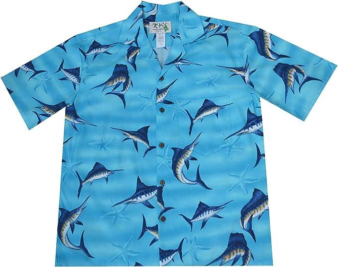 Made in Hawaii Hawaiian Aloha Shirt Big Catch Marlin Black