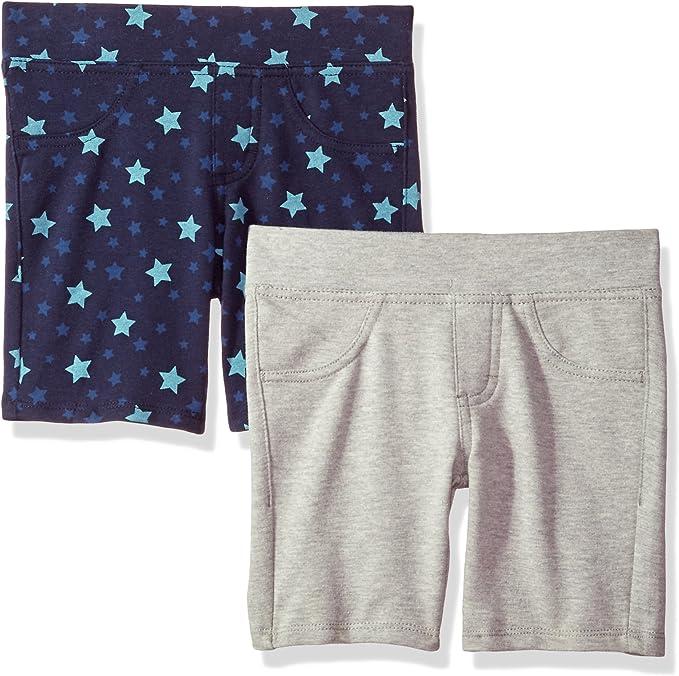 KIDPIK Shorts for Girls 2 Pack Kids 5 Pocket Knit Bermuda Spring or Summer Shorts