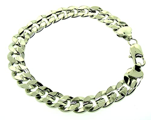 07f0406b9c3e7 Cuban Curb Bracelet - Silver Plated - Men's - 10MM WIDE, 8 inch, Solid,  Bling
