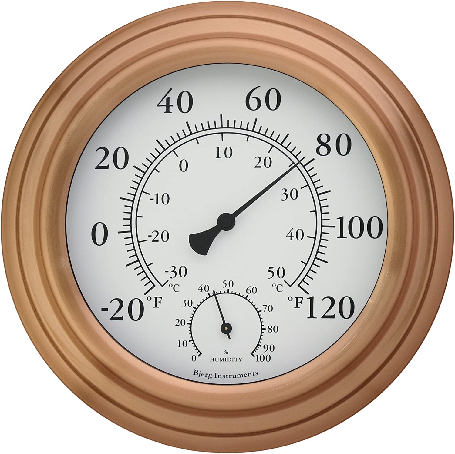 "Bjerg Instruments 8"" Copper Finish Decorative Indoor/Outdoor Thermometer and Hygrometer"