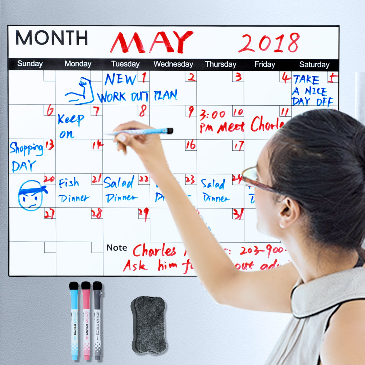 [Upgraded] Magnetic Calendar for Refrigerator, Exwell Erasable 17x13 Magnetic Dry Erase Board, No Water Damage, No Air Bubble, No Small Slit, No Crack, No Wrinkly, 2018 Monthly Calendar