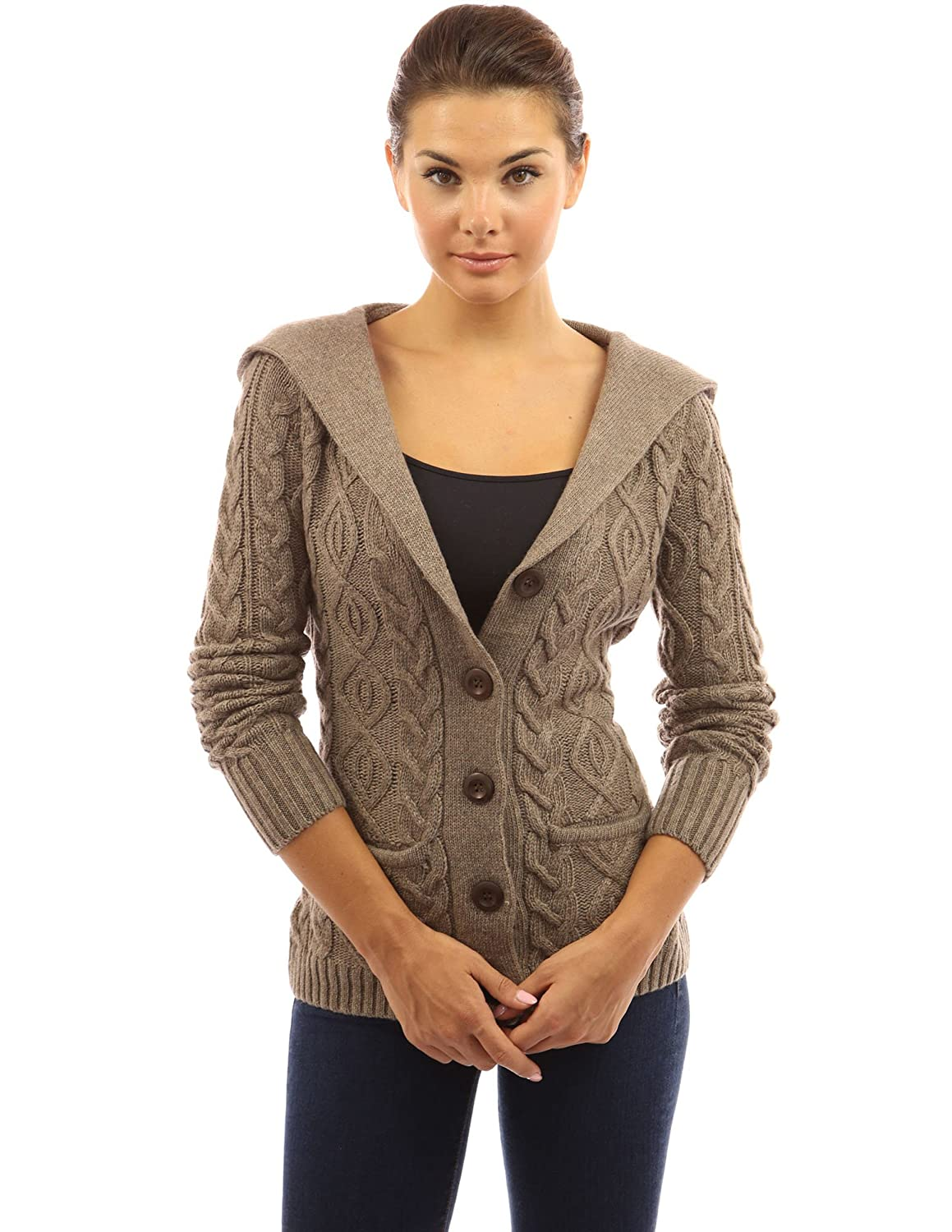PattyBoutik Women's Wool Blend Hooded Cable Cardigan