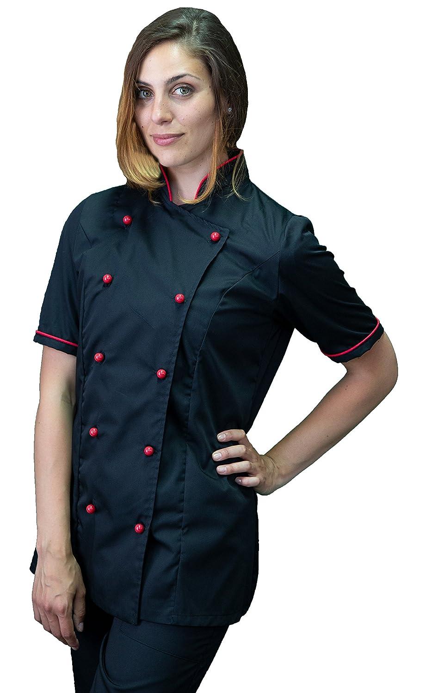 tessile astorino giacca, casacca cuoco chef manica corta nera e rossa, Donna, Made in Italy