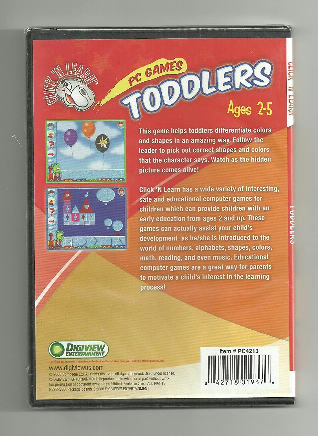 Amazon com: Click 'N Learn PC Games TODDLERS ages 2-5 In