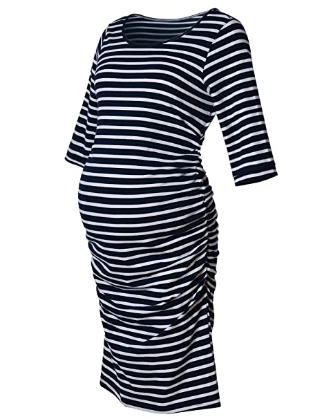 Maternity Dress Striped Ruched Fitted 34 Long Sleeve Bodycon Belly