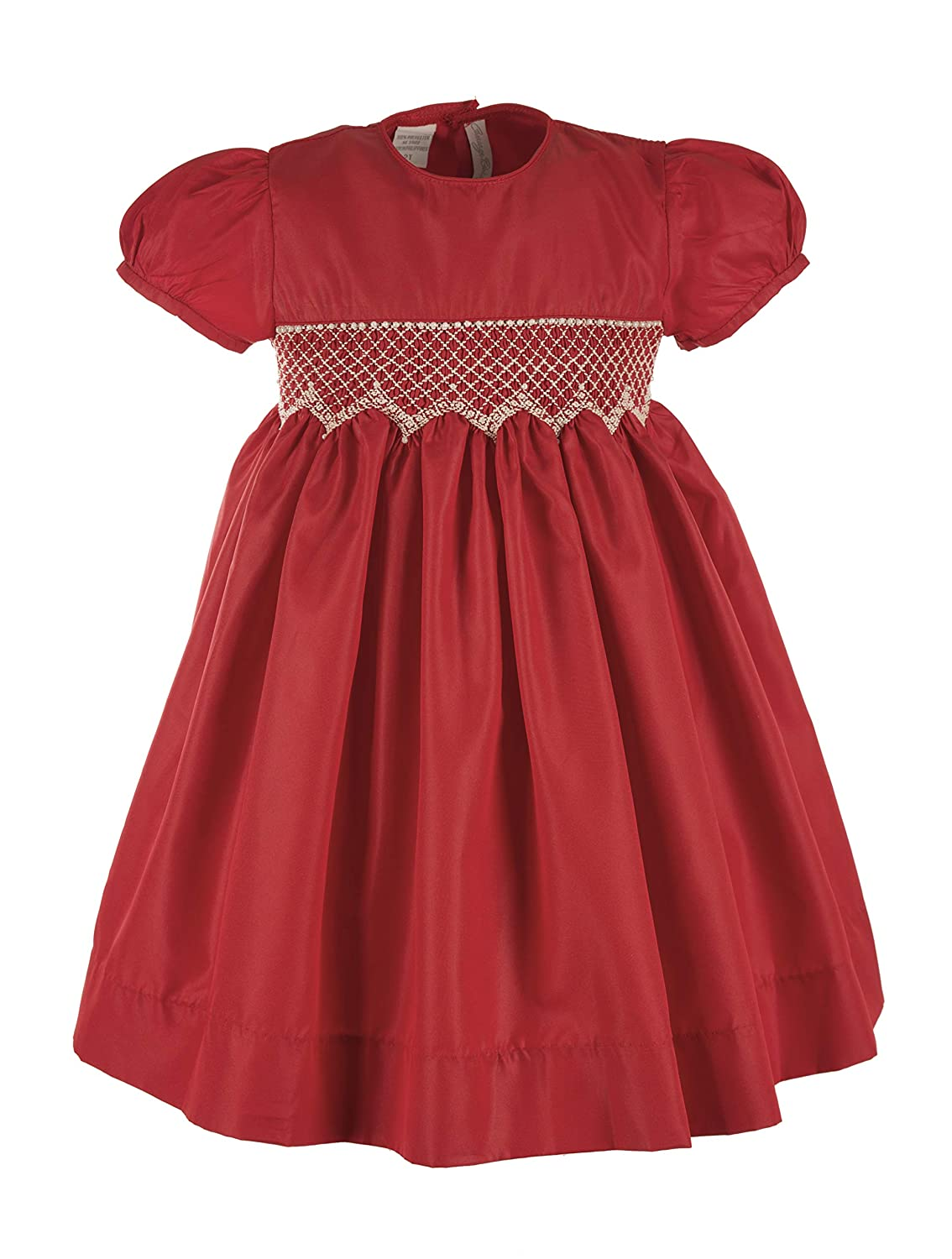 Kids 1950s Clothing & Costumes: Girls, Boys, Toddlers Carriage Boutique Girls Red Christmas Holiday Dress Hand Smocked $60.00 AT vintagedancer.com