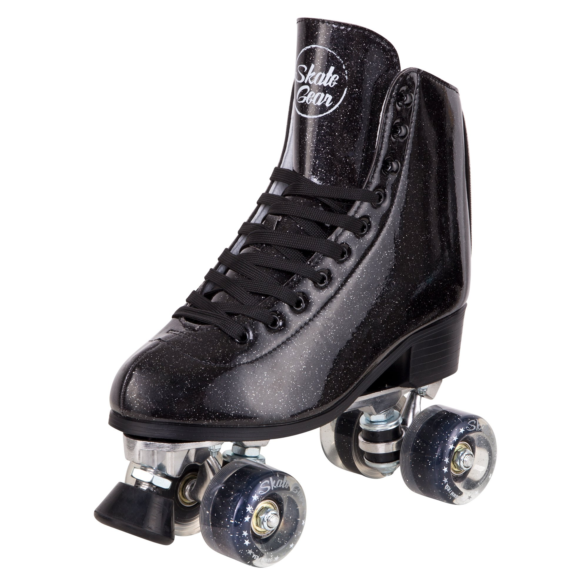 Cal 7 Sparkly Roller Skates for Indoor & Outdoor Skating, Faux Leather Quad Skate with Ankle Support & 83A PU Wheels for Kids & Adults (Black, Youth 5 / Women's 6)