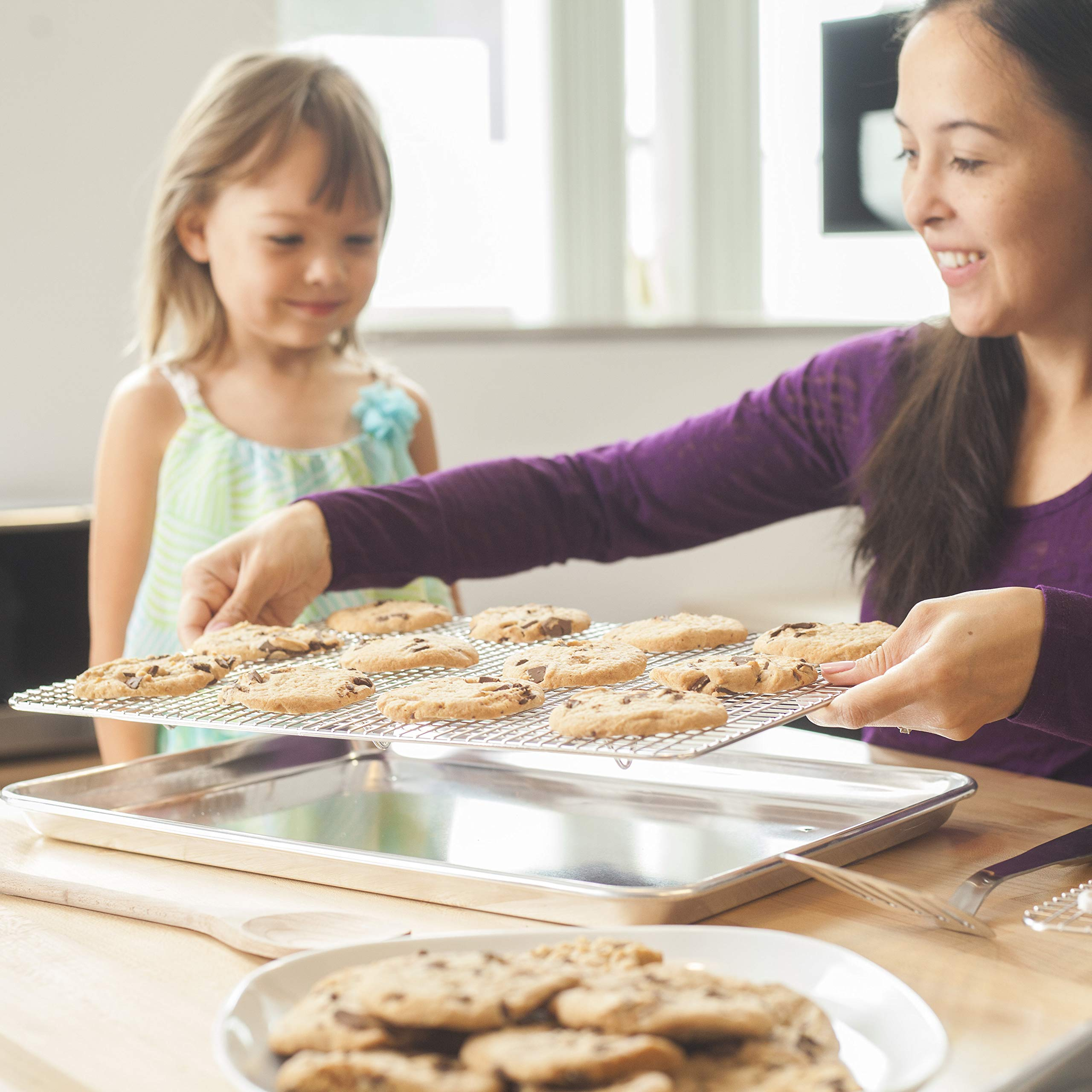 KITCHENATICS Baking Sheet with Cooling Rack: Half Aluminum Cookie Pan Tray with Stainless Steel Wire and Roasting Rack - 13.1'' x 17.9'', Heavy Duty Commercial Quality by KITCHENATICS (Image #3)