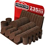 X-PROTECTOR Premium Giant Pack Furniture Pads 235 Piece! Great Quantity of Felt Pads Furniture Feet with Many Big Sizes…