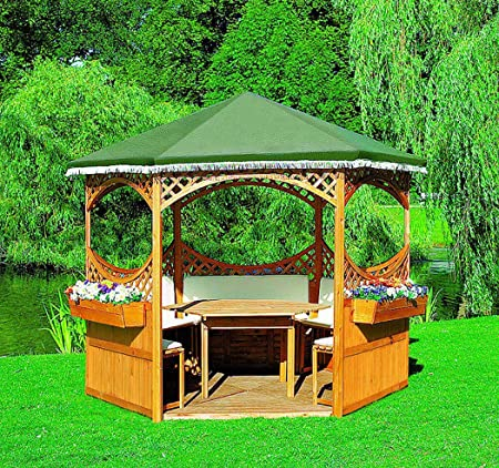 PRIKKER - Pavillons Carpa Palma II con Muebles de jardín Cenador Madera Carpa 308 x 308 x 260 cm: Amazon.es: Jardín