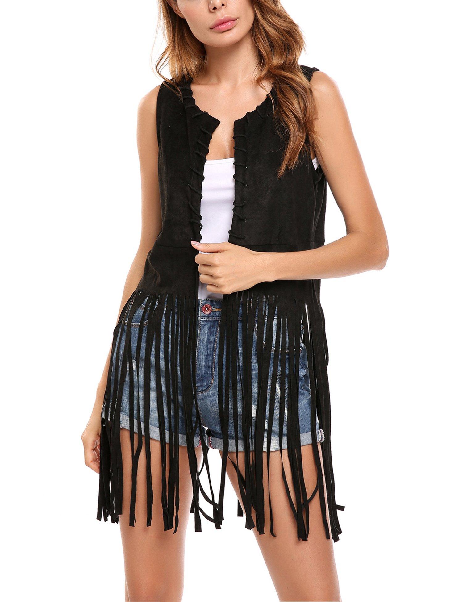 Hotouch Women Fringe Vest Open-Front Faux Suede Sleeveless Tassels Vest Cardigan Black XXL