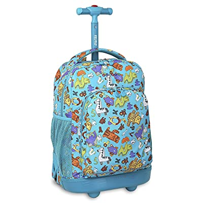 hot sale 2017 Kids Blue Animal Characters Themed Rolling Backpack, Kids School Bag, Lion, Duffel Wheels, Ponny, Wheeling Luggage, Snake, Cheetah, Lightweight Fashionable, Dino Suitcase