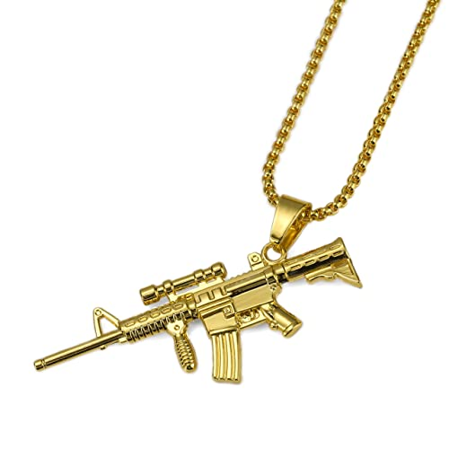 MCSAYS Mens Hip Hop Iced Out Gold Plated AWM Silver Sniper