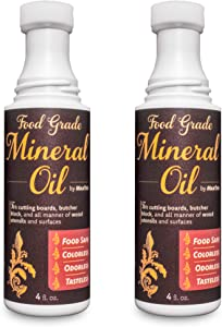 Easy-Applicator Mineral Oil for Cutting Boards and All Wood Care, Ultrapure Food Grade (4oz with Foam Applicator Tip, 2 Pack) Made in USA