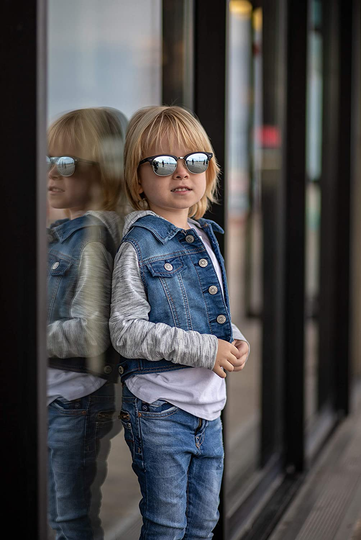 Ali/&Alex JAMIE Junior Clubmaster Semi Rimless UV Polarized Designer Sunglasses for Kids Boys /& Girls