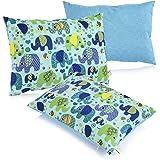 La Petite Unique |35 x 25 cm oreiller pour enfants | décoration adaptée aux enfants | 100% non-toxique | oreiller lavable et certifié Ökotex pour bébés | Eléphant bleu
