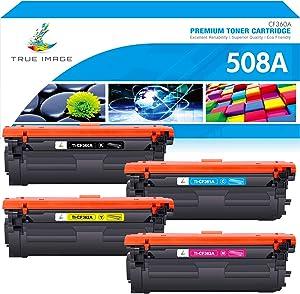 True Image Compatible Toner Cartridge Replacement for HP 508A 508X CF360X CF360A CF361A CF362A CF363A Color Laserjet Enterprise M553 M553n M553dn M577 M553 Toner (Black Cyan Yellow Magenta, 4-Pack)