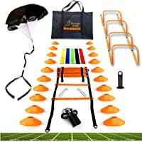Big B Pro Sports Speed & Agility Training Set | Includes Ladder, 20 Cones, Running Parachute, Jump Rope, 5 Resistance…