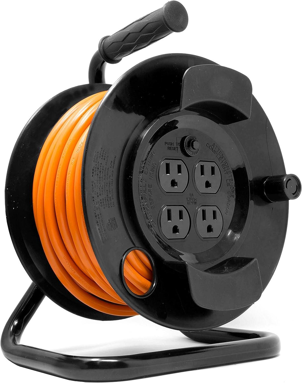 WEN PC5043R 50 ft. 14-Gauge Heavy-Duty SJTW Outdoor 14/3 Extension Cord Reel with NEMA 5-15R Light-Up Power Outlet,Black