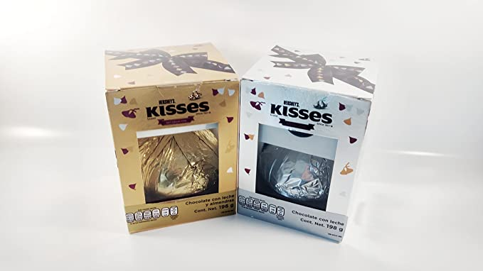Amazon.com: PACK 2 HERSHEYS KISSES GIANT GIFT COLLECTION MILK CHOCOLATE AND ALMONDS (7oz) Authentic Mexican Candy With Free Kinder Bar: Toys & Games