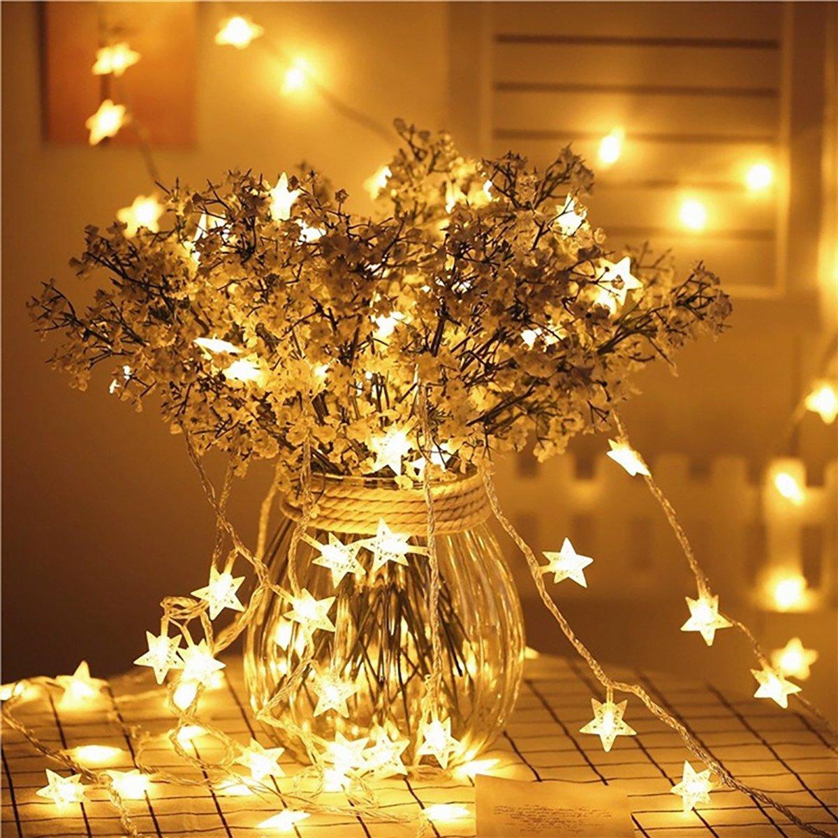 Rocita luce di catena di fata actionnée Par batteria di 40LED, luci di Ghirlanda di stella a cinque rami per la parte, matrimonio, Vacanze, Décor di Ghirlanda di Natale (40LED bianco caldo)