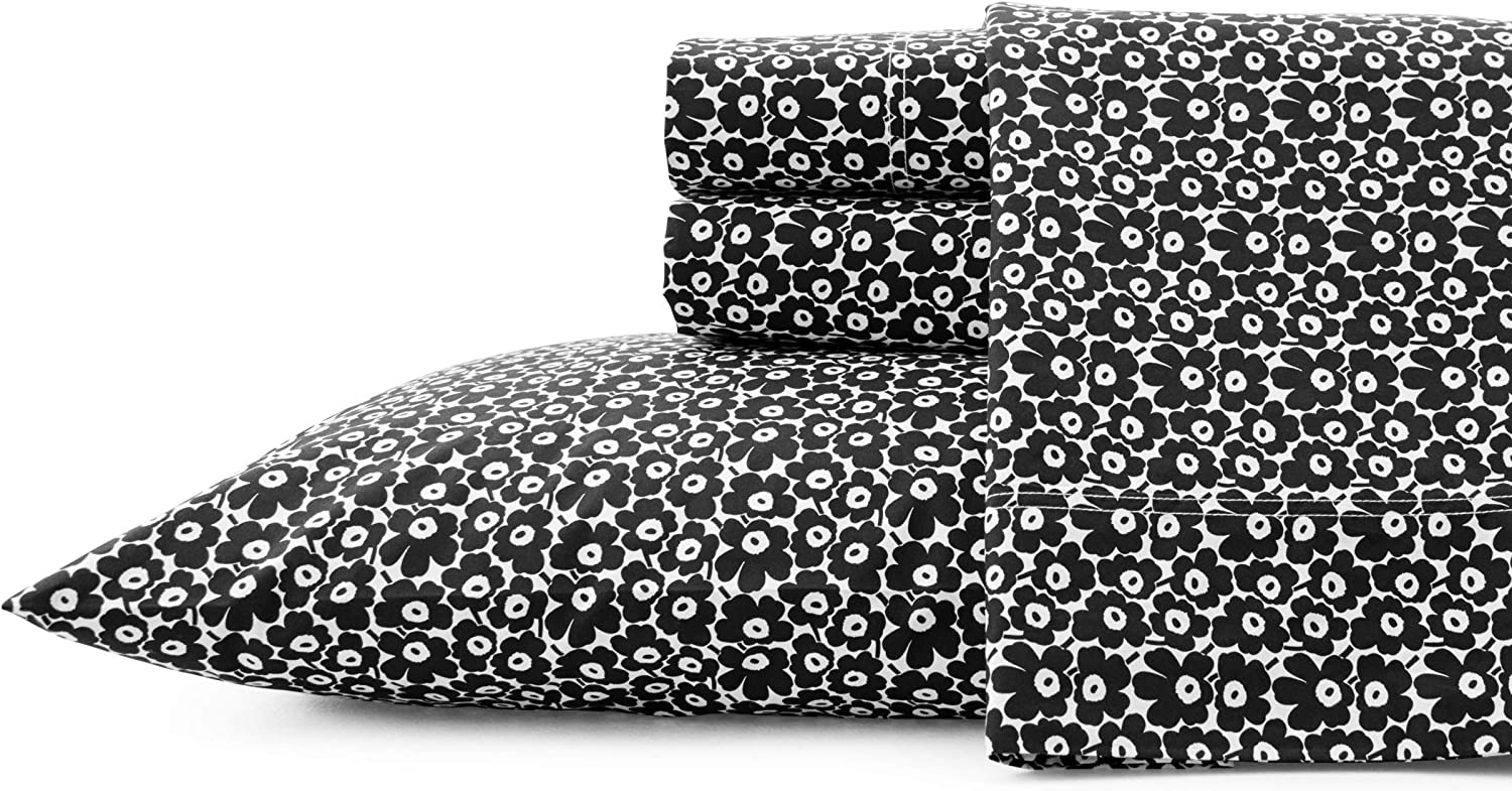 Amazon Com Marimekko Pikkuinen Unikko Sheet Set Full Black Home Kitchen