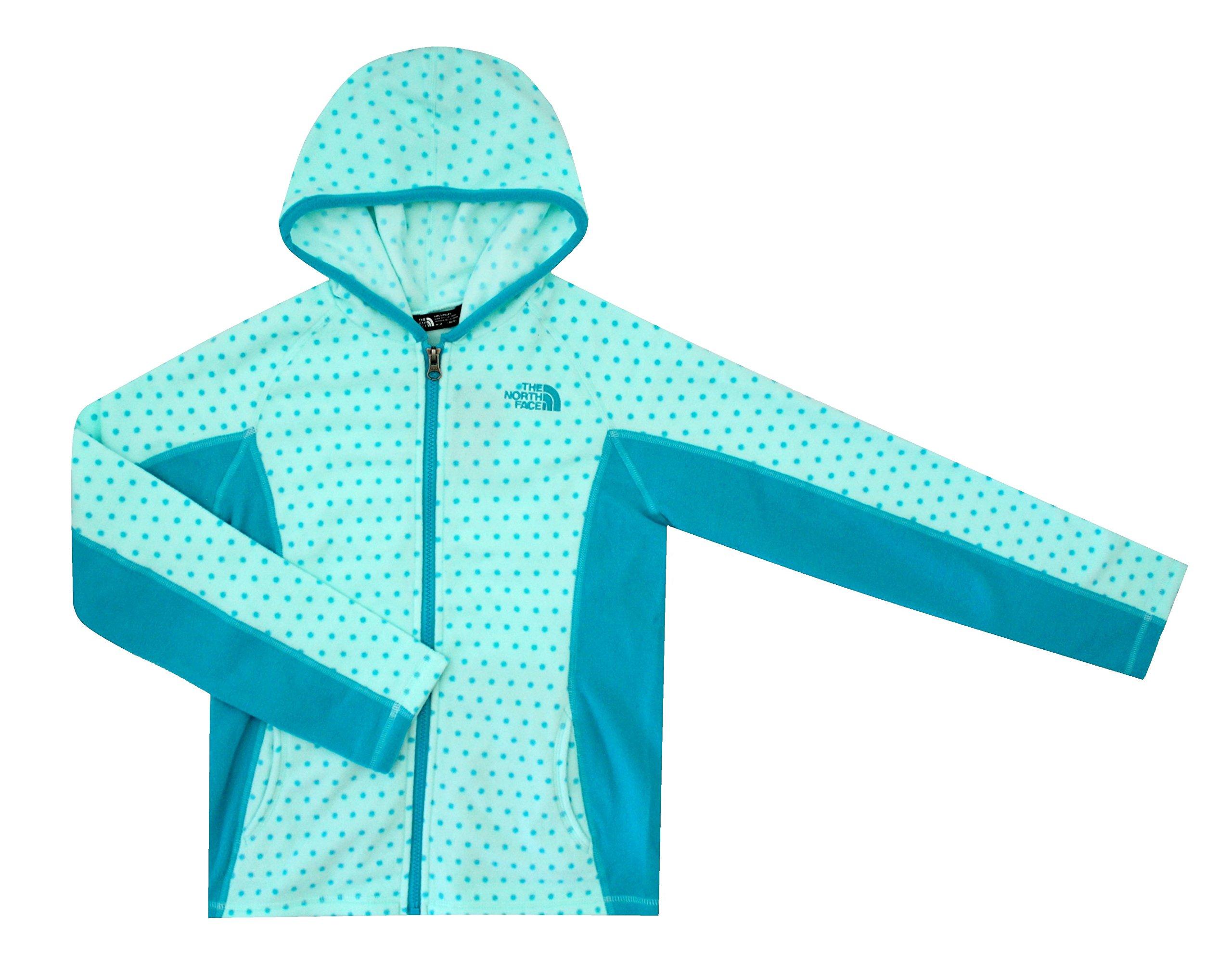 The North Face Glacier Youth Girls Full Zip Fleece Hoodie Beach Glass Green Dot (XL 18)