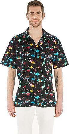 Camisa Hawaiana Hawaii para Hombres con Mangas Hawaianas Camisa Hawaiana Flamingo Party: Amazon.es: Ropa y accesorios