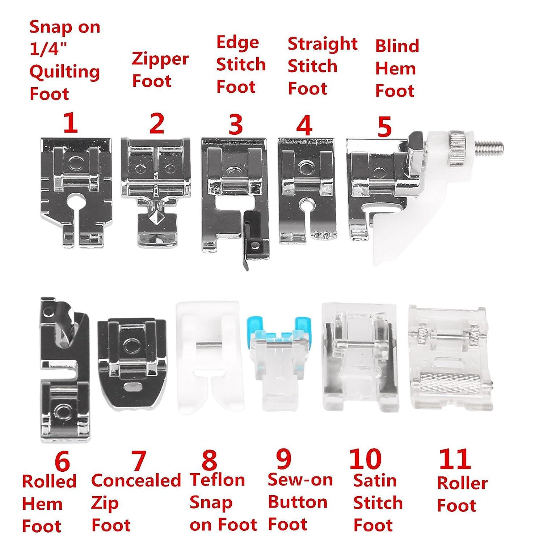 Lemonbest profesional 11 piezas multifuncional prensatelas para piezas de repuesto accesorios para máquina de coser Brother Cantante Janome mariposa etc.