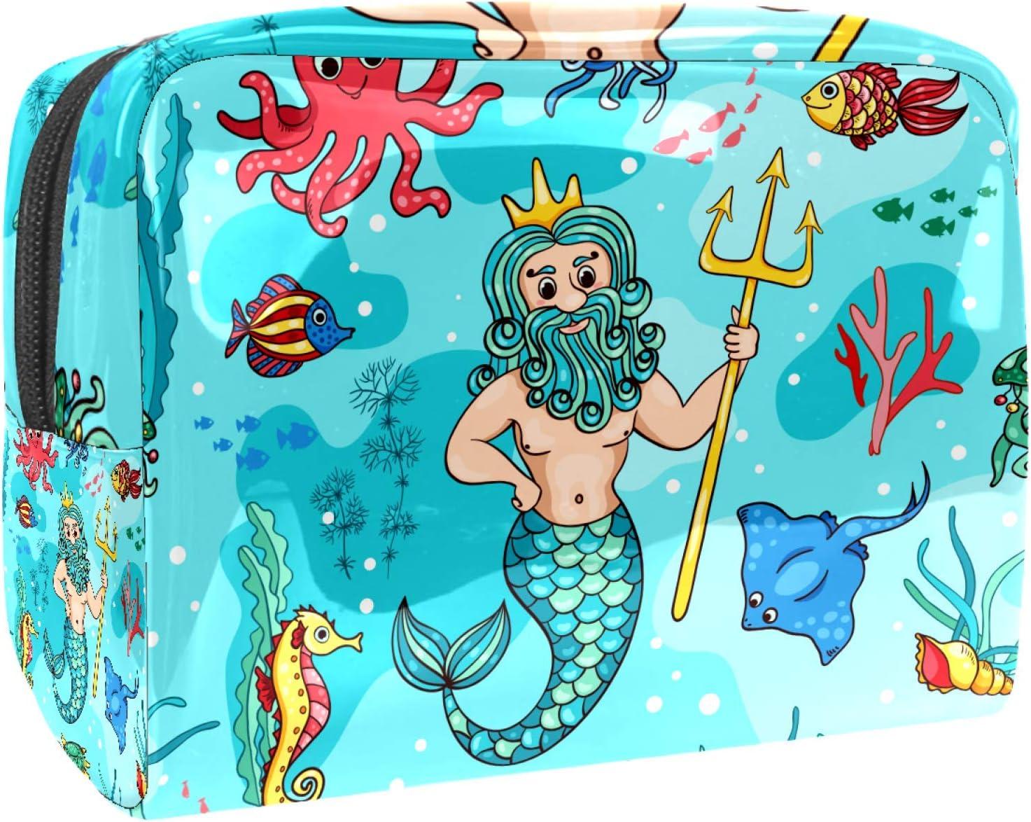 Bolsa de maquillaje portátil con cremallera, bolsa de aseo de viaje para mujeres, práctica bolsa de almacenamiento cosmético bajo el agua sirena