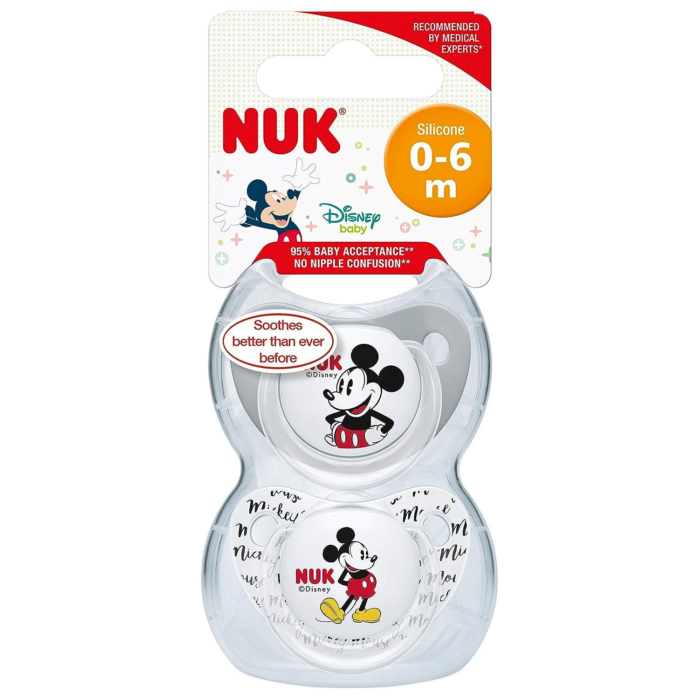 Nuk Mickey & Minnie - Chupetes fisiológicos de silicona T1, 0 - 6 meses, paquete de 2 [modelos surtidos]