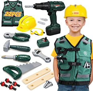 STEAM Life Kids Tool Set - Construction Worker Costume Battery Powered Toy Drill - Pretend Play Toy Tool Set for Toddlers Tool Vest, Hard Hat, Toy Tools - Tool Kit for Boys Girls Kids 3 4 5 6 7