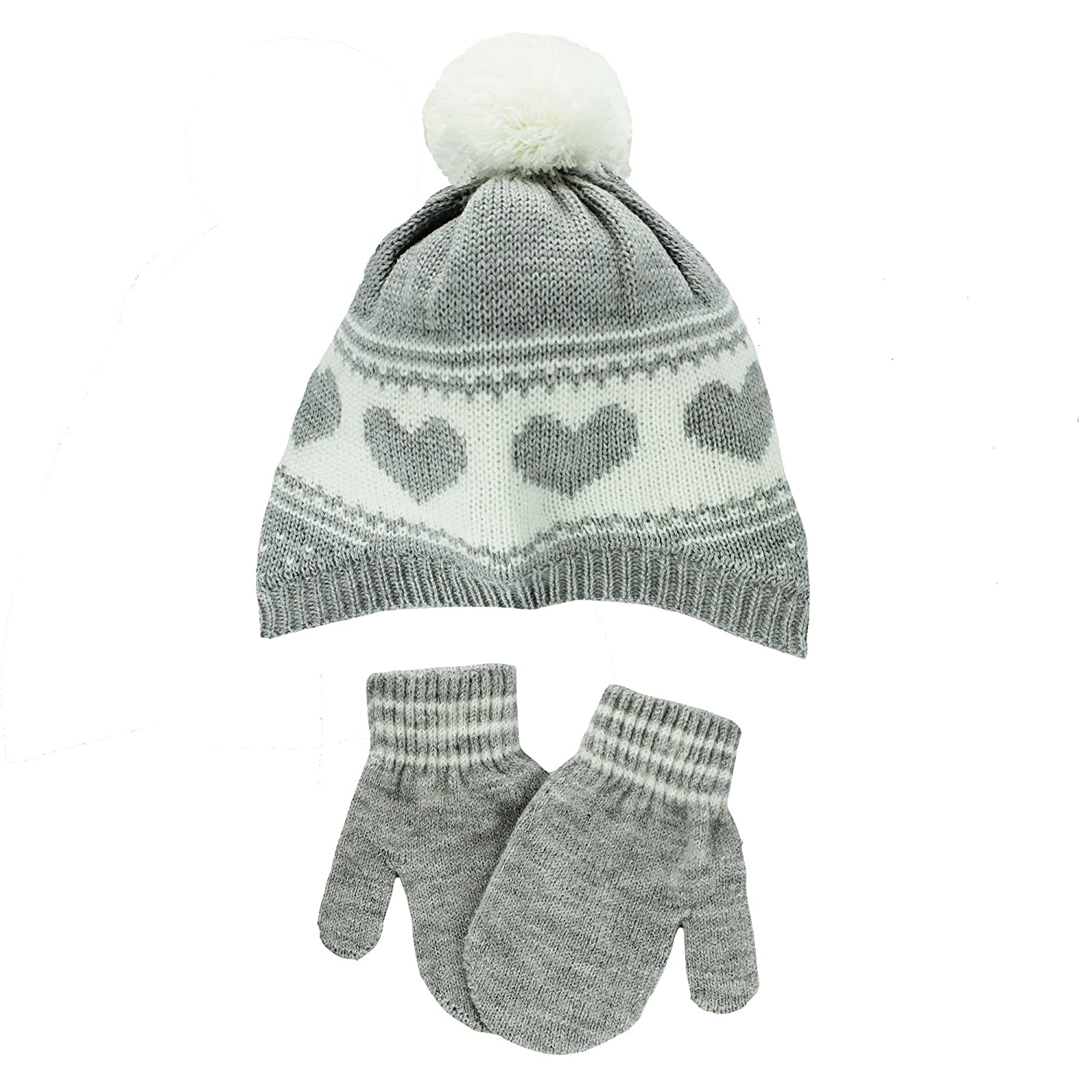 Carter's Infant Girls Knit Winter Ski Hat and Mittens 12-24 mths Heather Grey HM2NX7RCS -GREY-12-24