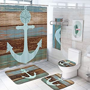 Pknoclan 7 Piece Anchor Shower Curtain Sets with Rugs and Bath Towel, Toilet Lid Cover, Bath Mat and Towels, Anchor Bathroom Decor Set Shower Curtain with 12 Hooks, Anchor Bathroom Curtain Shower Set