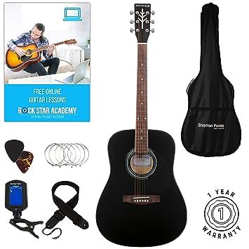 Stretton Payne Dreadnought Guitarra Acústica de Cuerdas de Acero Tamaño Completo Paquete D1 Negro: Amazon.es: Instrumentos musicales