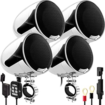 GoHawk AN4-QX 1200W 4 Channel All-in-One Amplifier 4.5 Full Range Waterproof Bluetooth Motorcycle Stereo Speakers Audio Amp System w//AUX for 1-1.5 Handlebar Harley Cruiser Can-Am ATV UTV RZR Polaris