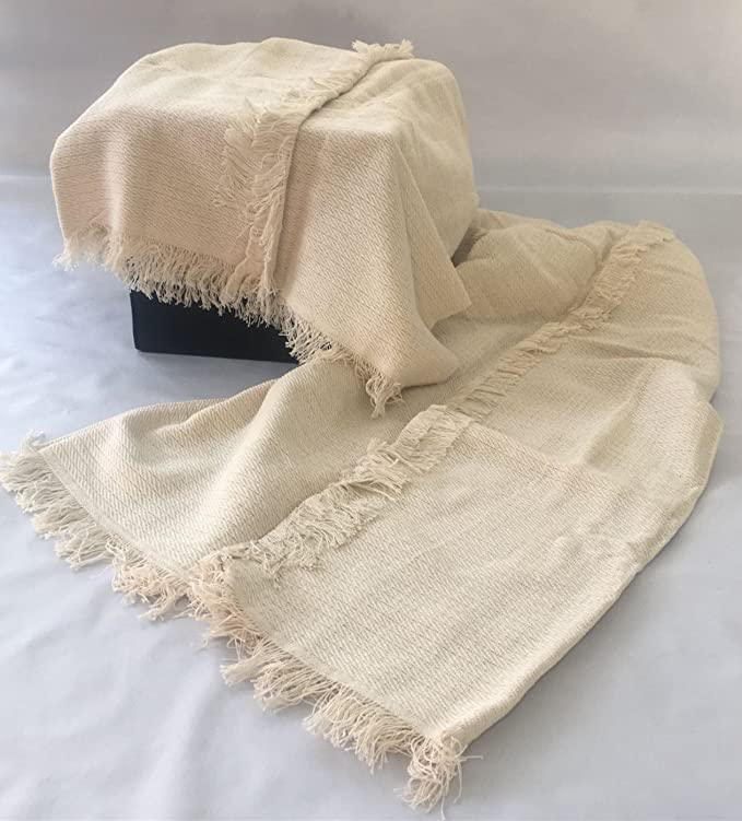 Colcha multiusos / Cubre sofás / Sobrecamas y colchas / Manta color liso para sofá 3 plazas o cama 135-150cm (220 x 260 cm, CRUDO)
