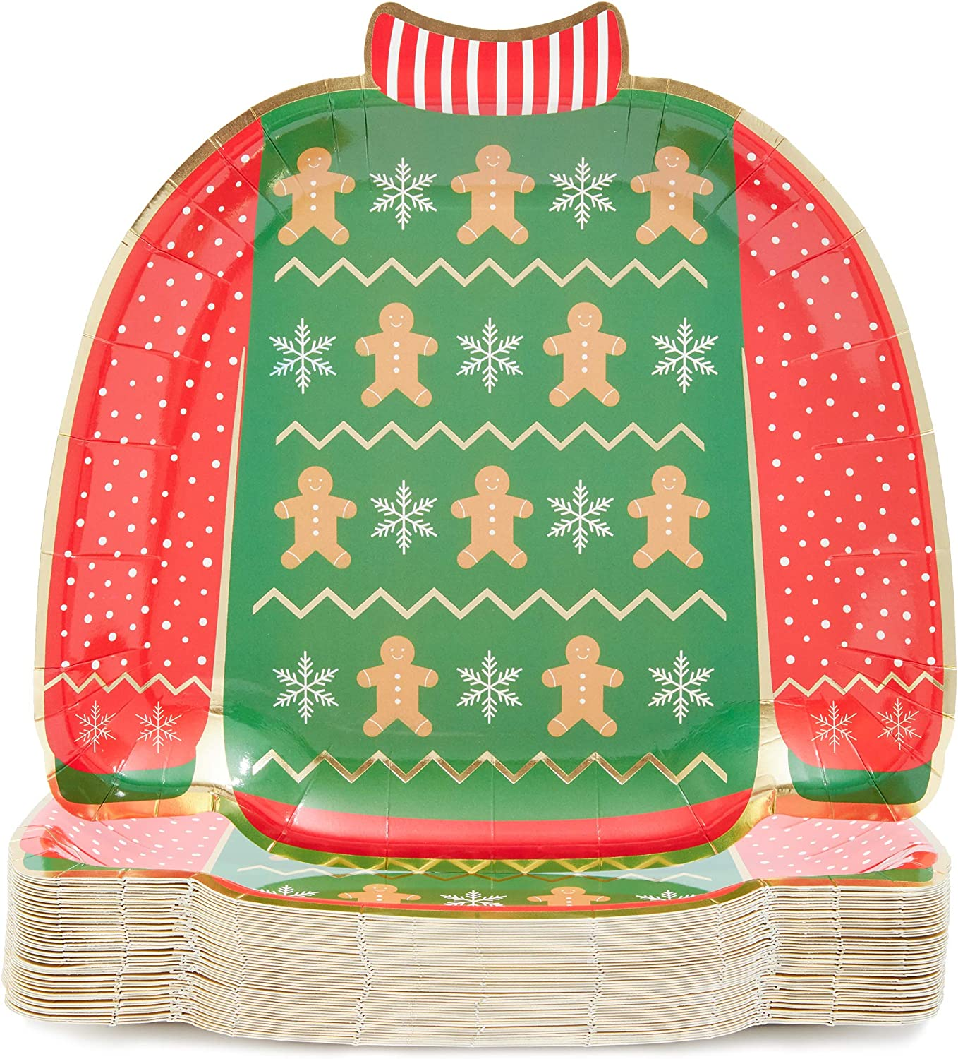 Ugly Christmas Sweater Paper Plates for Holiday Party (9.5 In, 48 Pack)