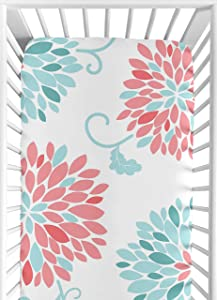 Sweet Jojo Designs Fitted Crib Sheet for Modern Emma Baby/Toddler Bedding Set Collection - Floral Print