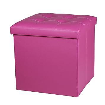 NISUNS OT02 Lether Folding Storage Ottoman Cube Foot Rest Stool Seat, 300kg  Max Load, 38 x 38 x 38 cm (Rose)