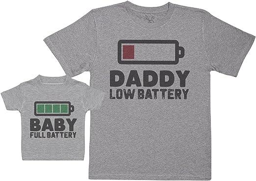 Baby Full Battery - Regalo para Padres y bebés en un Camiseta para bebés y una Camiseta de Hombre a Juego: Amazon.es: Ropa y accesorios