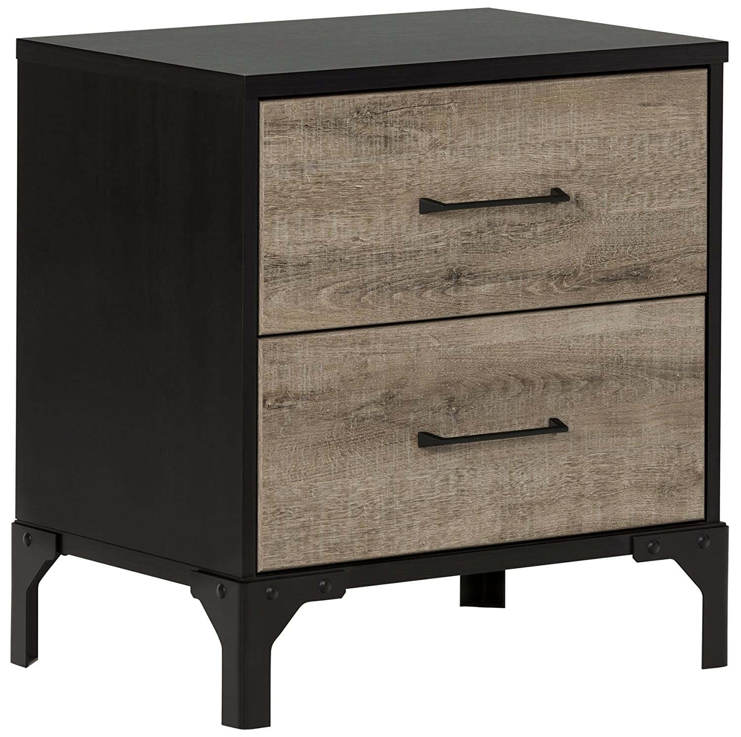 South Shore Furniture Valet 2-Drawer Nightstand, Weathered Oak and Ebony 10498