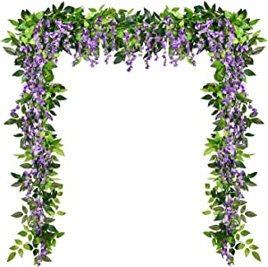 Shiny Flower 4 Pcs Artificial Flowers Wisteria Garland Silk Wisteria Vine Rattan Hanging Flower Greenery Garland with Ivy Leaves for Home Garden Outdoor Wedding Arch Floral Decor, 6.6 Feet (Purple)