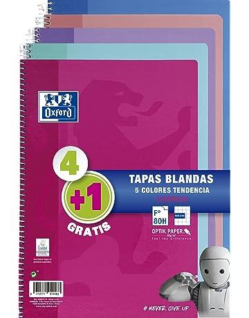 Oxford - Pack de 5 cuadernos (tapa blanda, 80 hojas, cuadrícula 4x4 con